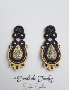 Vintage Glamour Unique handmade soutache earrings Black and Gold