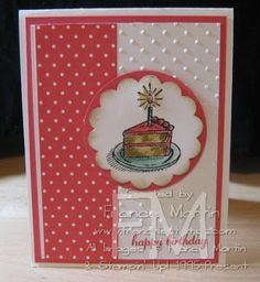 The use of paper dot paper and the embossing folder is fun.  Stamp & Scrap with Frenchie: Stampin'Up! Sketched Birthday