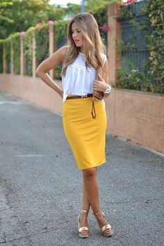White Top and Yellow Pencil Skirt