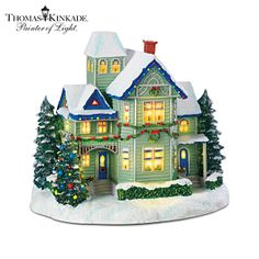 Thomas Kinkade Candle Glow House Sculpture Brings the Village Christmas Spirit to Your Home Decor and Holidays! Christmas Tree Village, Christmas Village Collections, Christmas Town, Christmas Candle, Christmas Villages, Christmas Gingerbread, Christmas Decorations, Christmas Holidays, Thomas Kinkade Christmas