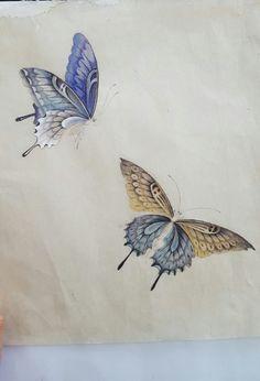 Chinese Landscape Painting, Korean Painting, Chinese Painting, Butterfly Drawing, Butterfly Painting, Butterfly Wallpaper, Botanical Illustration, Illustration Art, Bug Art