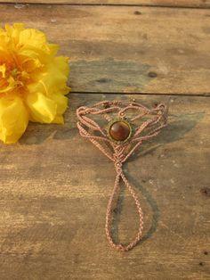Macrame ring bracelet tribal jewelry por inespu en Etsy