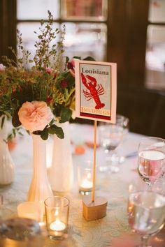 state inspired table numbers http://www.weddingchicks.com/2013/10/15/vintage-la-wedding/