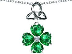 Amazon.com: Lucky Shamrock With Celtic Knot Made With Heart 6mm Simulated Emerald Celtic Love by Kelly in .925 Sterling Silver: Finejewelers: Jewelry