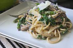 spinach mushroom asparagus pasta by shutterbean