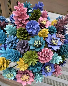 ONE DOZEN Pastel Pine cone Flowers/ These ocean breeze pine cone flowers were hand made from several different kinds of pine cones. Each pine cone is glued to a green 9 Pinecone Crafts Kids, Fall Crafts, Diy And Crafts, Christmas Crafts, Christmas Trees, Father Christmas, Christmas Christmas, Pine Cone Crafts For Kids, Wood Crafts