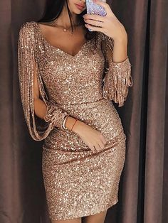 Tassel lantern sleeve sequin dress Women sexy v neck bodycon dresses Autumn fashion elegant party dress Sequined vestidos mujer Sexy Dresses, Beautiful Dresses, Evening Dresses, Prom Dresses, Formal Dresses, Mini Dresses, Elegant Dresses, Awesome Dresses, Spring Dresses
