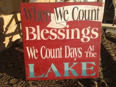 Lake sign, lake house sign, Fourth of July, red white and blue, summer