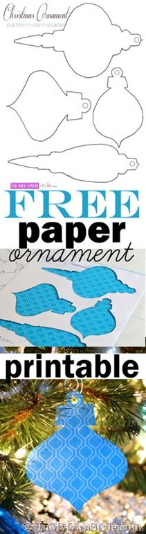 Christmas tree DIY decorations. Free printable Christmas paper ornaments. Use scrapbook paper, wallpaper, or maps to make festive budget friendly ornaments for your Christmas tree.