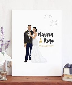 Our couple portrait guest book alternative captures the love and well wishes of your wedding guests in a fun, new way. Unlike a traditional guest book, guests sign this large print instead of a book. Afterwards, you can hang it in your home as a keepsake. You get to change any colors and select up to two fonts. All info for ordering, customization, turnaround time, and more is below :)  MATCHING ITEMS  You can see all the other items matching this style here: http://etsy.me/2lD...
