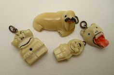 4 Vintage Alaska Native Eskimo Carved Charms Polar Bear Walrus Billikens | eBay