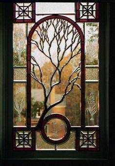 Sculpted Tree Beveled Glass Window Midlothian, Virginia