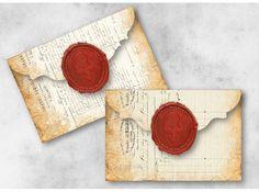 Digital Collage Sheet Download  Wax Seal Ephemera Envelopes