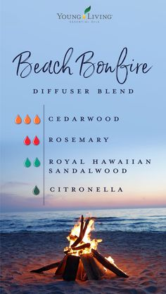 Feel like you're enjoying a crackling fire by the salty seaside. Diffuse this Beach Bonfire diffuser blend of sweet Cedarwood, herbaceous Rosemary, heavenly Royal Hawaiian Sandalwood, and citrusy Citronella essential oils. Essential Oils For Headaches, Essential Oil Diffuser Blends, Doterra Essential Oils, Diy With Essential Oils, Sandalwood Essential Oil, Young Living Oils, Young Living Essential Oils, Citronella Essential Oil, Krystal