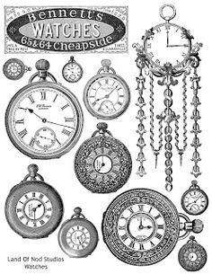 Free Image Friday :: Pocket Watch collage sheet by Landofnodstudio Vintage Labels, Vintage Ephemera, Collages D'images, Etiquette Vintage, Foto Transfer, Images Vintage, Free Prints, Digi Stamps, Printable Paper