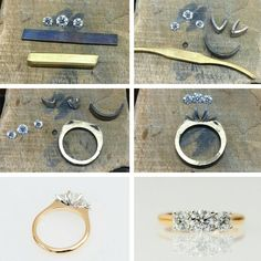 From the workshop, creating a three-stone diamond engagement ring, for Heather and Matt. Classic yellow gold, with white gold settings to complement the diamonds. #harlequinjewellers #workshop #justforthem