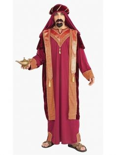 Deluxe Indianred Special Costume with Egyptian traditional custumea with kaffiyeh and robes. Mention the Arab world and it conjures up images of people wearing white robes with red-and-white keffiyehs around their heads.The modern one is rich colors. This Deluxe Indianred Special Costume is for the guy who appreciates money and luxury. Imagine having whatever you need at your disposal.