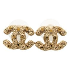 Pre-Owned Chanel #7614 Cc  Bronze Crystals Mini Gold Pierced Stud... (18,870 DOP) ❤ liked on Polyvore featuring jewelry, earrings, earring jewelry, oval earrings, studded jewelry, chanel earrings and yellow gold earrings
