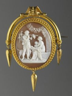 Italian, Cameo Brooch: The Hunter's Return, Early 19th Century, shell and gold; 7.3 cm (2 7/8 inches) (length) including pendant, Gift of Mrs. Albert Babcock 30.090 - Rhode Island School of Design Museum