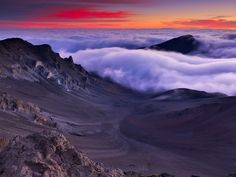 Haleakala Crater, Maui, Hawaii - best sunrise EVER!!! 10,000 ft above the sea & the clouds
