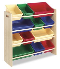 These are perfect for the kids' rooms or play rooms because they really provide a space for everything at a height that is easy for toddlers to access.