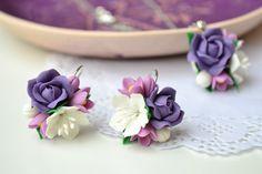 ON SALE Purple white flower earrings by IvannaFlorist on Etsy