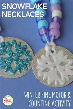 Looking for ideas for winter crafts for kids? Kids will have so much fun making these snowflake counting necklaces, that they won't realize they are working on fine motor skills and math concepts. Snow Activities, Counting Activities, Motor Activities, Preschool Themes, Preschool Math, Kindergarten, Snow Theme, Winter Theme, Winter Crafts For Kids