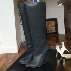 Tibi Knee High Grey Leather Wedge Boots Sz 9