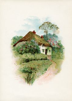 "This old-fashioned charming cottage is from a small book of poetry titled, ""Rubies From Byron"", 1895. Click on image to open full size."