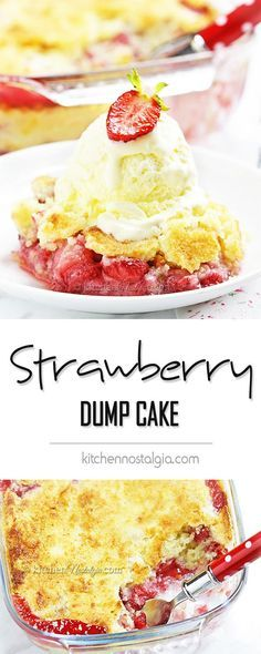 Strawberry Dump Cake - probably the easiest cake ever! Fresh strawberries, cake mix and butter dumped in a cake pan, baked and served with vanilla ice cream. Dump Cake Recipes, Dessert Recipes, Food Cakes, Cupcake Cakes, Cupcakes, Fresh Strawberry Cake, Easy Strawberry Desserts, Vanilla Cake With Strawberries, Frozen Strawberry Recipes