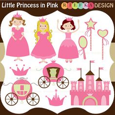 Little Princess in Pink Clipart Set by riefka on Etsy, $5.95