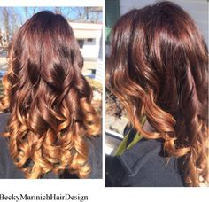 Gorgeous auburn to caramel ombre using Kenra color! Root color- Kenra 6RB+10, midshaft-7RB/8GB Demi-permanent, ends- Kenra lightener with blonding creme to make it the perfect texture!