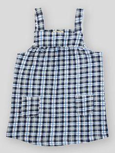 Navy Checks Printed Picoting Dress