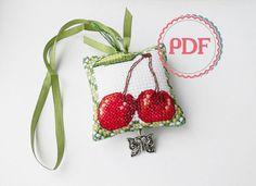 Scissor Fob PDF Stitching Pattern Fresh Fruit / Scissor Keeper / Scissor Minder / Embroidery Design by Mamahobby on Etsy