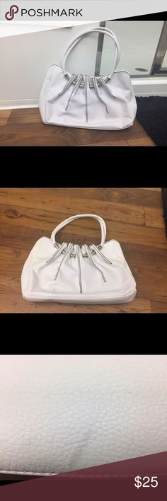 White House Black Market Handbag White, WHBM Handbag, cute, with minor marks (shown in pics). Magnetic close White House Black Market Bags