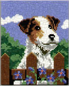 0228-angie-farm-terrier-1x3 Perler Beads, Diy And Crafts, Terrier, Mosaic, Cross Stitch, Embroidery, Dogs, Design, Punto De Cruz