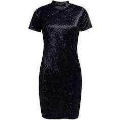Sans Souci Black velvet mock neck mini dress ($39) ❤ liked on Polyvore featuring dresses, black, velvet cocktail dresses, sans souci, velvet mini dress, velvet dress and back zipper dress