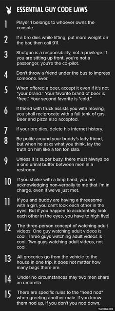 Yes, yes, yes... Essential guy code laws