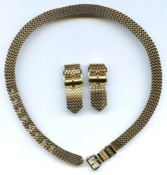 circa 1970s BUCKLE Gold Tone Mesh Choker Necklace & Clip Earrings Set  $24.95