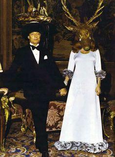 Marie-Hélène de Rothschild wearing a mask crying tears of diamonds + Guy de Rothschild