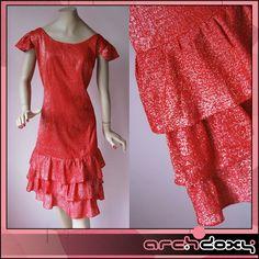 Vintage 60s  Glittery Red Sparkle MOD Mini Dress #vintagedress #archdoxy #retro #mod  http://www.ebay.co.uk/itm/Vintage-60s-Frilled-Glittery-Red-Sparkle-Wiggle-MOD-Scooter-Mini-RaRa-Dress-UK16-/371656248589