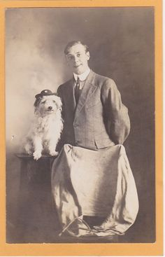 Studio Real Photo Postcard RPPC Man & Small White Dog Bichon Frise? Sioux Falls