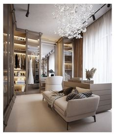 Bedroom Closet Design, Home Room Design, Dream Home Design, Home Interior Design, House Design, Modern Luxury Bedroom, Luxurious Bedrooms, Luxury Interior, Dressing Room Design