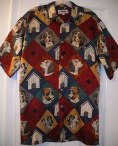 71ffed1737c Mens CAMPIA Hunting Collie Beagle Boxer Dog Lover Argyle Silk Shirt~S~FREE  SHIP!