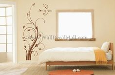 Loving You Romantic Retro Swirling Branch Wall Decals– WallDecalMall.com