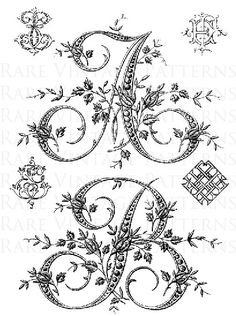 Antique FRENCH FLORAL ALPHABET Large Letter by