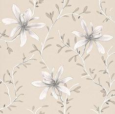 Rogivande tapet med stilrent slingrande blommönster i olika grå nyanser på beige botten från kollektionen Flora 897739. Klicka för att se fler blommande tapeter för ditt hem!