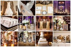 Great Gatsby Inspired Wedding - Black and Gold decor