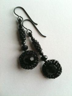 Black circle and tube earrings by Jeka Lambert.  Seed bead woven.  Glass beads, seed beads.