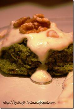 Sformatini di broccoletti in salsa di noci